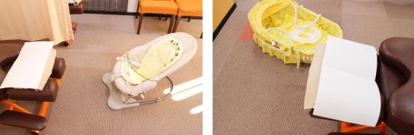 赤ちゃんを見守りながら施術を受けられます。